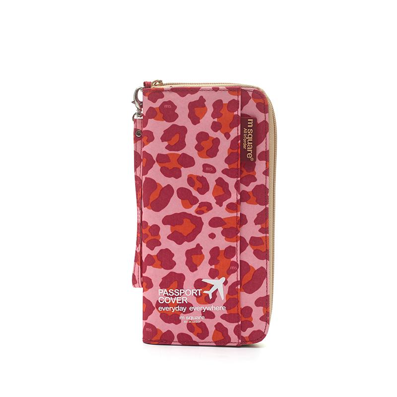 M SQUARE multinational colorful traveling passport wallet bag long  version (leopard colour)