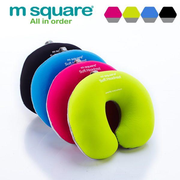 M SQUARE soft headrest neck pillows (Pink/Black/Green/Blue)