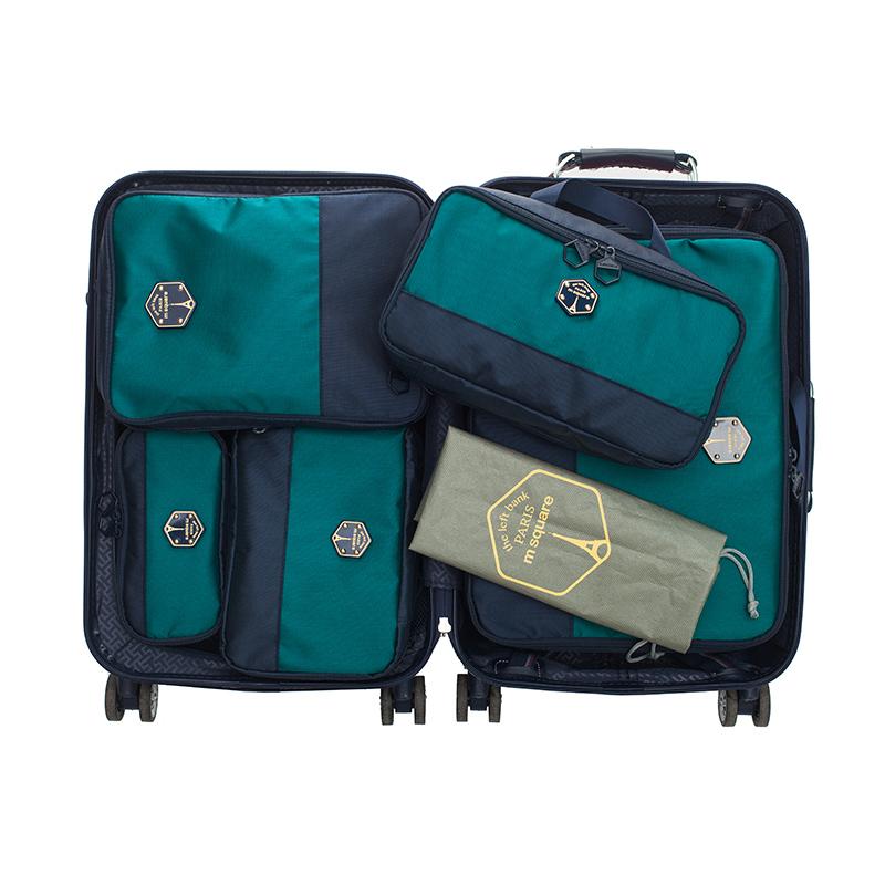 M SQUARE corporate luxury suitcase travel kit bag set (Navy blue)